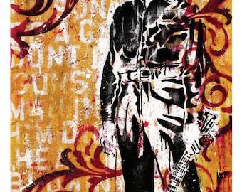Johnny Cash - The Man in Black - 12 x 18 High Quality Pop Art Print