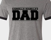 Dad shirt - custom dad shirt personalized with kids names ringer style Tshirt