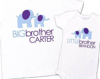 Big brother little brother matching shirt set-ELEPHANT personalized sibling t-shirts TWO shirts