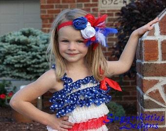 Patriotic Baby Headband - Red, White, & Blue Flower Headband - 4th of July Photo Prop - Rosette/Feather  Baby Headband