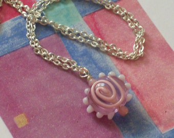 Think Pink Lampwork Glass Pendant Necklace