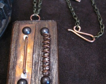 Steampunk circuit and coil copper plate and brass pins on wood pendant on adjustable chain necklace