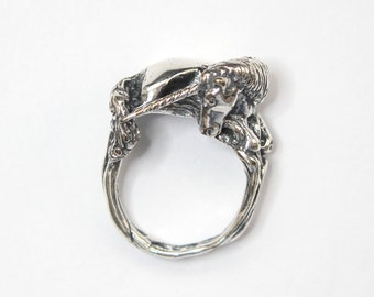 Sleeping Unicorn Ring in Solid Sterling Silver  - Size 6 Unicorn Statement Ring 243