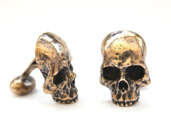 Ancient Gold Skull Cufflinks in Solid Bronze Half Skull Cuff Links Keith Richards Style 246