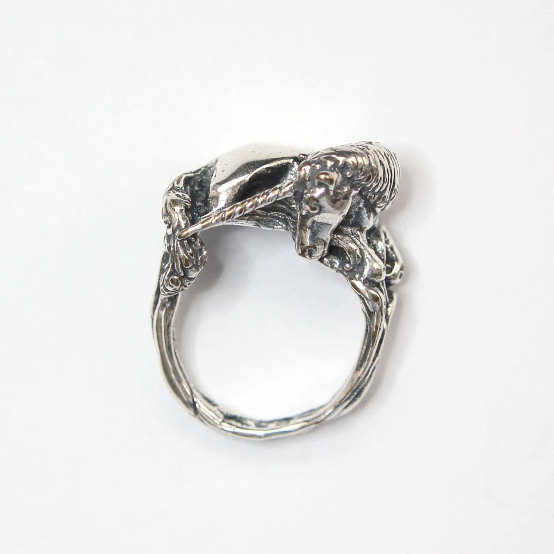 Einhorn Ring in Sterling Silber Größe