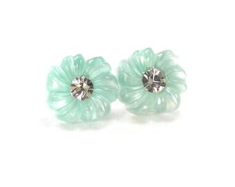 Mint Flower Post Earrings, Green Stud Earrings, Small Flower Earrings, Pastel Jewelry, Rhinestone Earrings, Wedding, Bridesmaids