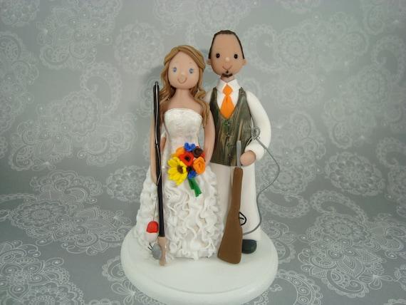 Personalized hunting fishing theme wedding cake topper for Fishing themed cake toppers