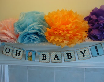 Baby Shower Banner-Oh Baby Banner-Baby Boy Shower Sign-Baby Shower Decor-Its A Boy Banner-New Baby Gift-Chevron Baby Shower-Boy Chevron Sign