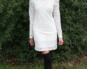 80's, white, lace, exaggerated puff sleeve, bandage, body con, form fit, mini dress, grunge, rocker, hair band