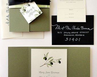 SAMPLE - Tuscan Olive Gate Fold Wedding Invitation