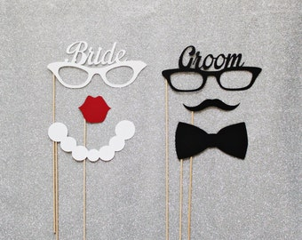 Groom and Bride Glasses Photo Booth Prop Set. Photo Booth Props. Mustaches and Lips. Set of 6.