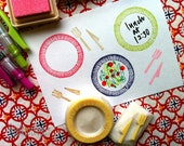 meal rubber stamps | cooking | plate fork knife | diy card making | wedding christmas party crafts | hand carved by talktothesun | set of 2