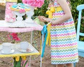 Zadee Dress in Pastel Chevron fabric by Riley Blake - Choose your favorite Ribbon Color