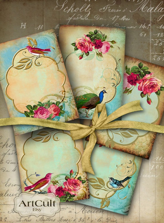 Digital Collage Sheet ROMANTIC ELEGANCE Printable 2.5x3.5 inch Gift Tags, jewelry holders, Greeting cards, Shabby Labels, Vintage ephemera