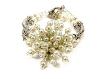 Pearl Bracelet  Double Strand Bracelet  Women's Silver Bracelet  Handmade Jewelry