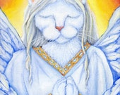 Angel Cat Art, White Cat in Angel Robes, Cat Wings, Praying Cat, 5x7 Print CLEARANCE