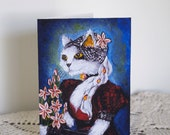 Cat Greeting Card, White Cat in Black Red Victorian Goth Dress, CLEARANCE Card
