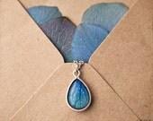 Sky Blue tear drop necklace - Hydrangea petals -Bloom collection by BeautySpot (N099)