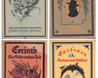 German Art Books Ten 1920s Vintage Antique German Dolphin Art Books Delphin Kunst-Bücher, CrabbyCats, Crabby Cats