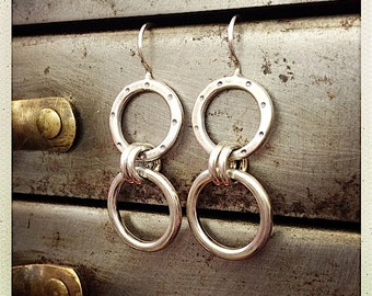 Sterling Silver 2 Circle Dangly Earrings