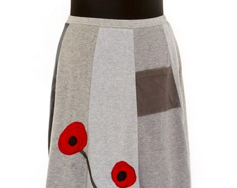 T-Skirt Upcycled, recycled, appliqué grey t-shirt skirt with poppies
