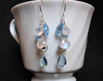Blue Quartz Earrings with Moonstone in Silver