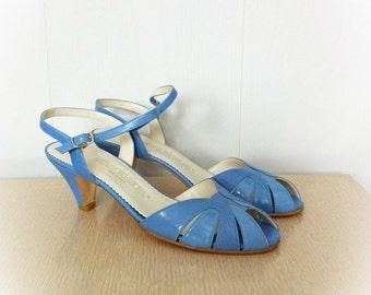 Vintage 1970s Shoes  Sky Blue Red Cross Peep Toe Slingback Heels Size 6.5 N