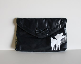 VINTAGE navy blue CLUTCH with hand painted deer