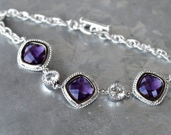 Faceted, Diamond Shape Amethyst Crystal and Cubic Zirconia Set in Silver or Gold on a Silver or Gold Bracelet