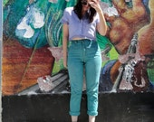 Vintage 90's Hand Dyed Teal Green GINO JEANS High Waist SKINNY Distressed Denim Pants (sz 2 4 6)