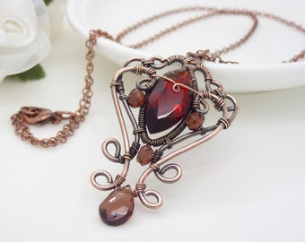 Dark red garnet necklace, gothic red quartz and copper necklace, copper wire wrapped jewelry handmade in New Zealand