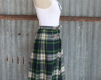 1960s Vintage Plaid Skirt - Blue Green Wool Plaid Kilt Skirt - Made in Scotland - Scottish Tartan - Back to School - Retro Preppy 26 Waist