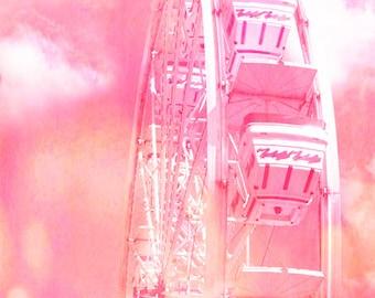 Pink Ferris Wheel Prints, Dreamy Baby Girl Pink Carnival Art, Carnival Ferris Wheel Prints, Pink Ferris Wheel Photos, Pink Carnival Wall Art