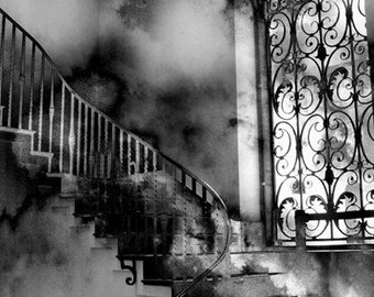 Gothic Black and White Photography, Surreal Gothic Staircase, Haunting Fantasy Eerie Spooky Staircase, Surreal Fantasy Black and White Print