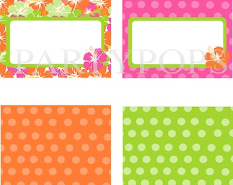 Diy Luau Party Food Label or Name place card, Tabel tent cards, PRINTABLE,  Minnie Mouse Luau Party Decoration, INSTANT DOWNLOAD