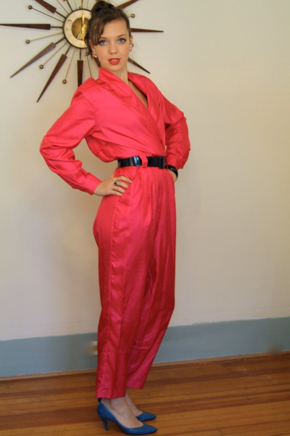 Vintage Totally 80s Rad Hot Pink Onepiece Parachute Jumpsuit
