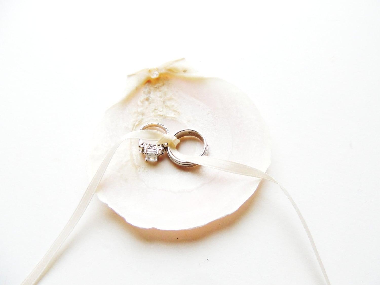 Seashell Ring Bearer Wedding Ring Holder Bowl Dish Pillow