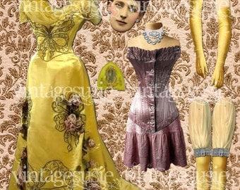 Vintage Art Paper Doll Collage Sheet 'Queen Alexandra' digital download