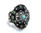 Old Egyptian Silver & Turquoise Ring with Rustic Bedouin Style Filigree - Size 6.5