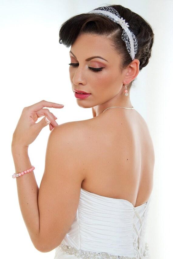 Crystal - Sweet birdcage veil accented headband with rhinestones