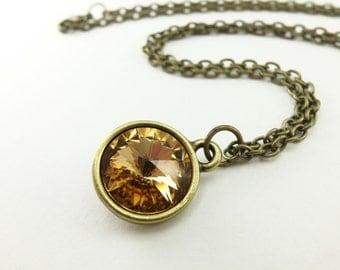 Amber Necklace Topaz Birthstone Necklace December Birthstone Topaz Crystal Necklace Brass Modern