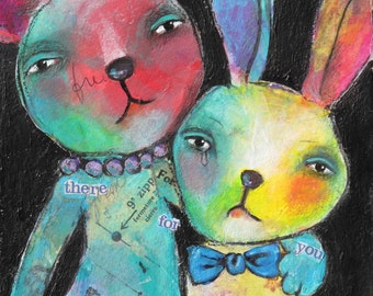 There For You - 8 x 10 Print of an original mixed media compassionate bunny and bear painting