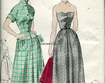 Vintage 1940s Sewing Pattern Strapless Button Front Sundress or Fitted Jacket/Blouse and Skirt 1949 Butterick 4863 Bust 32 UNUSED