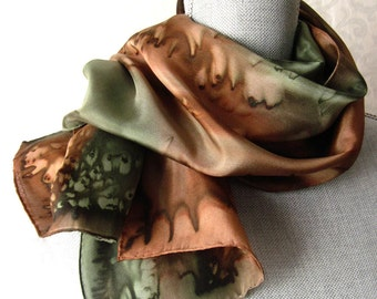 Silk Scarf Hand Dyed in Olive and Brown