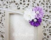Purple Flower Headband, Purple, Lavender and White Satin Flower Trio w/ Pearls Headband, The Emily, Baby Toddler Child Girls Headband