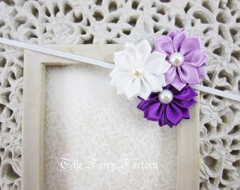 Purple Flower Headband, Purple, Lavender and White Satin Flower Trio w/ Pearls Headband, The Emily, Baby Toddler Child Girls Headband