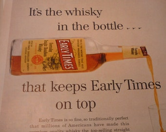 Vintage Ad - Early Times Whisky - Top Selling Whisky - 1950s classic ad -