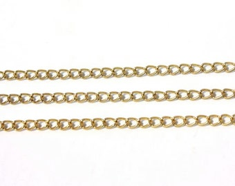 Textured Vintage 1960s Brass Curb Link Chain // 12 Feet  // 6mm x 8.5mm