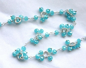 SALE Stunning  Apatite Gemstone Clusters on Sterling Silver Chain // Hand Wrapped // by the foot,1 Foot