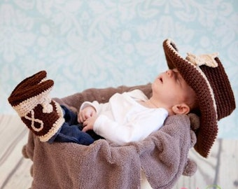 Baby Cowboy Boots - Baby Cowboy Outfit - Baby Cowboy Hat - Baby Photo Prop - Cowboy Hat - Cowboy Boots - Cowboy Photo Prop - Baby Cowboy
